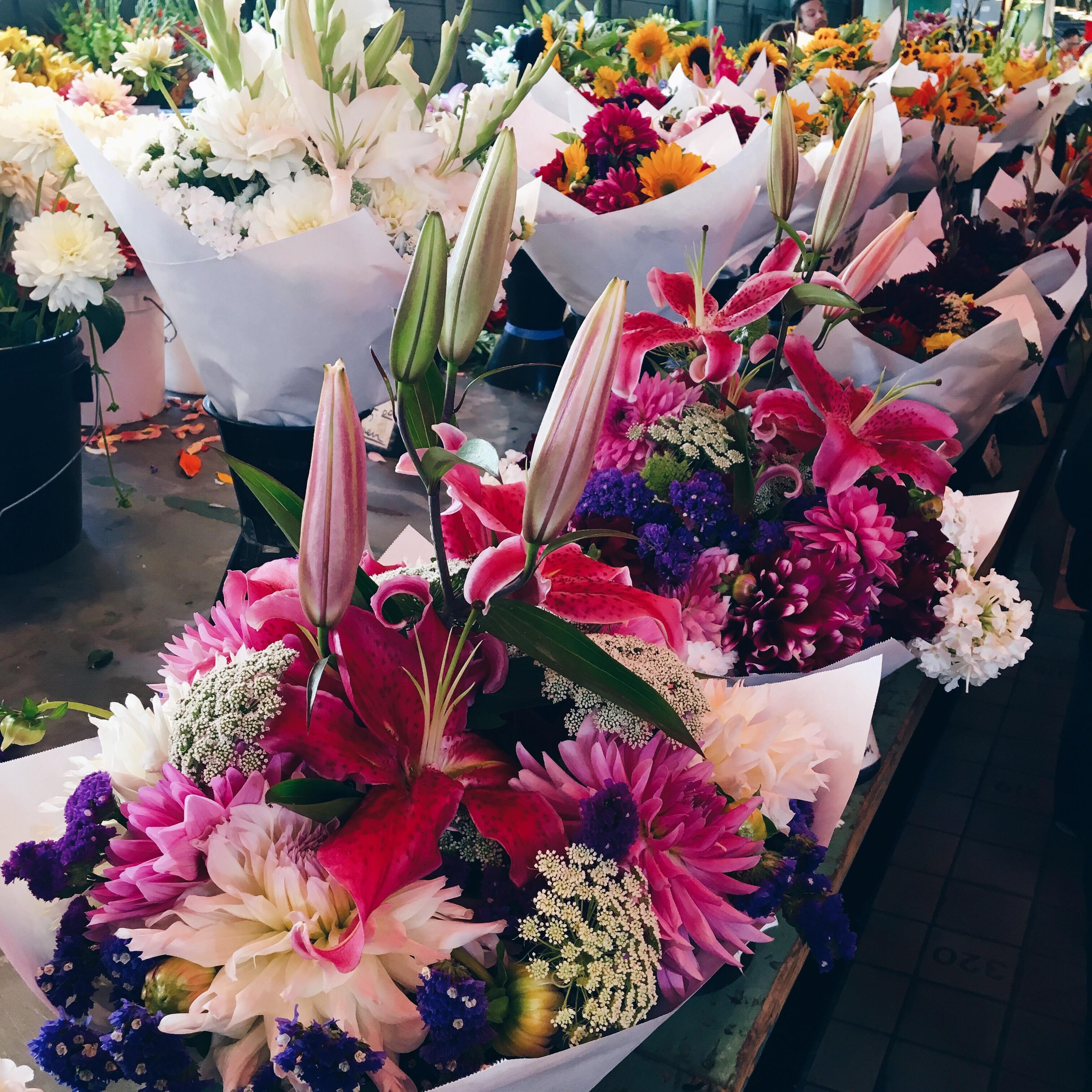 Pike's Place Market. Such beautiful flowers for long stretches.